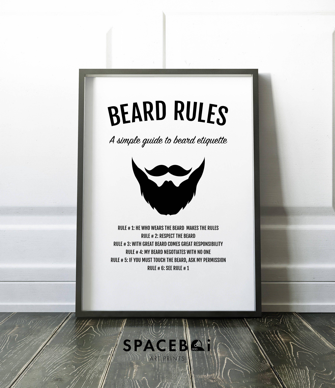 Beard print gifts for him beard art husband gift