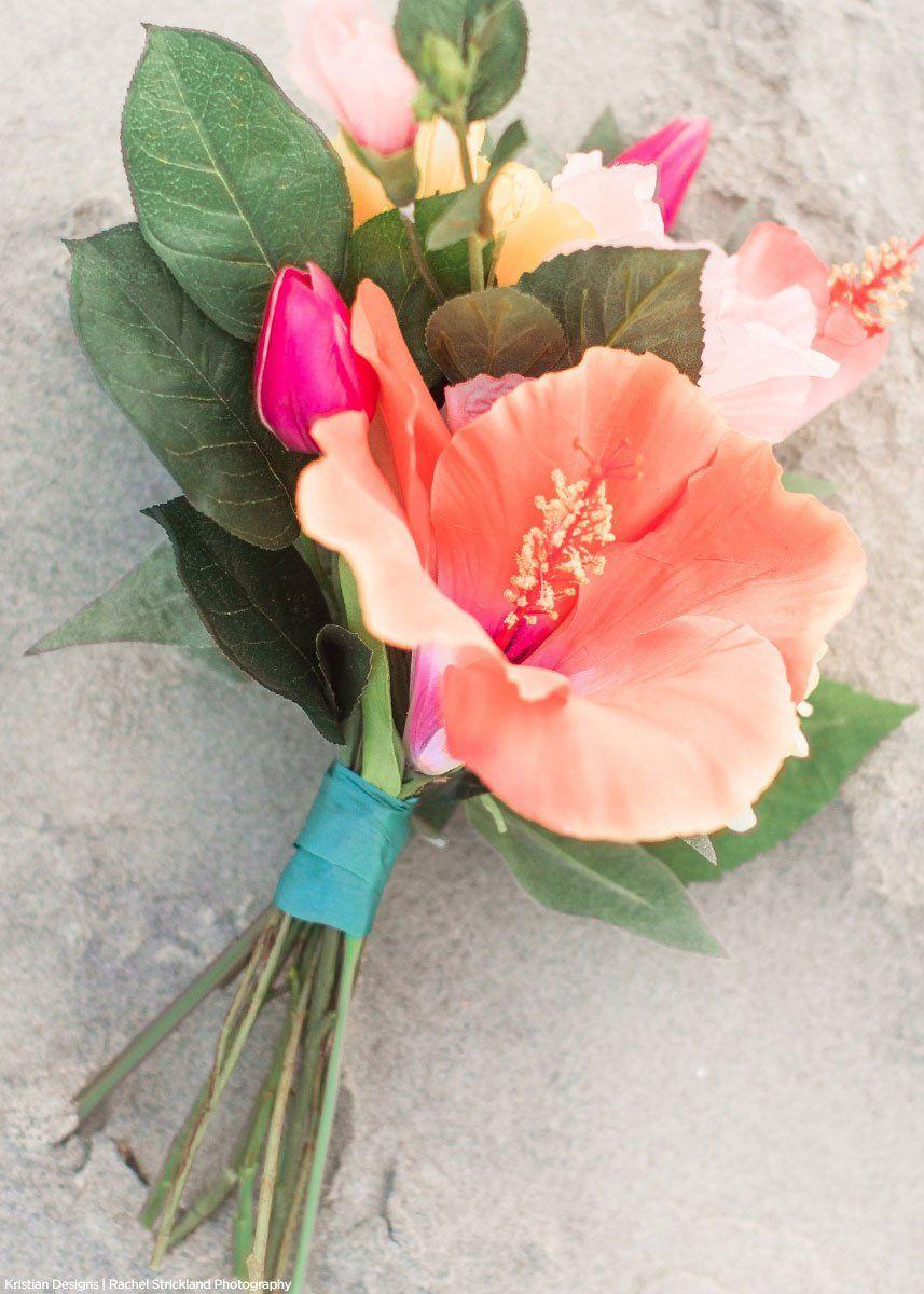 Silk Flowers Hibiscus Spray In Orange Coral 26 Tall In 2020 Hibiscus Wedding Lilac Wedding Bouquet Wedding Flower Guide