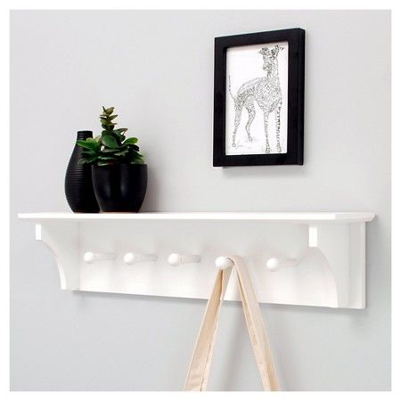 Foster Wall Shelf with Pegs White White wall shelves