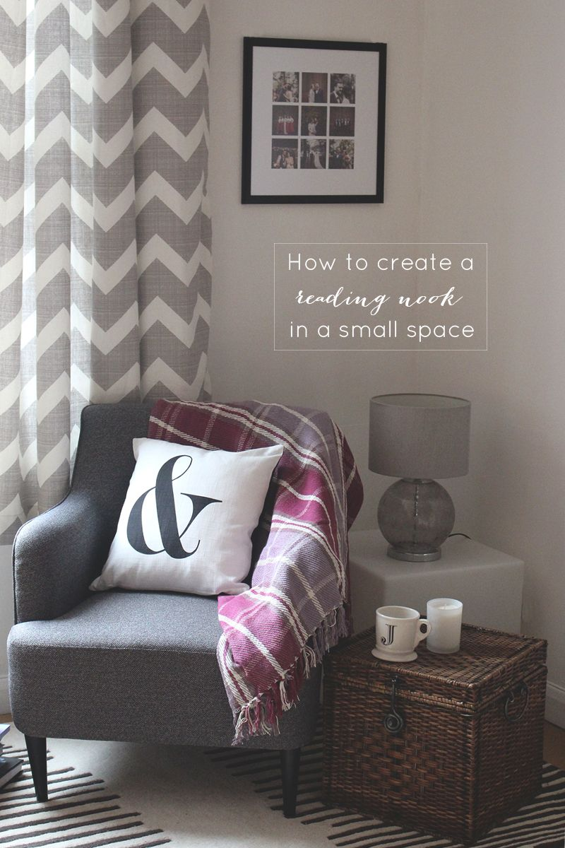Just what I need for my book corner! A nice, elegant chair, a comfy  cushion, and some light. I would add a touch of color and a foot rest.