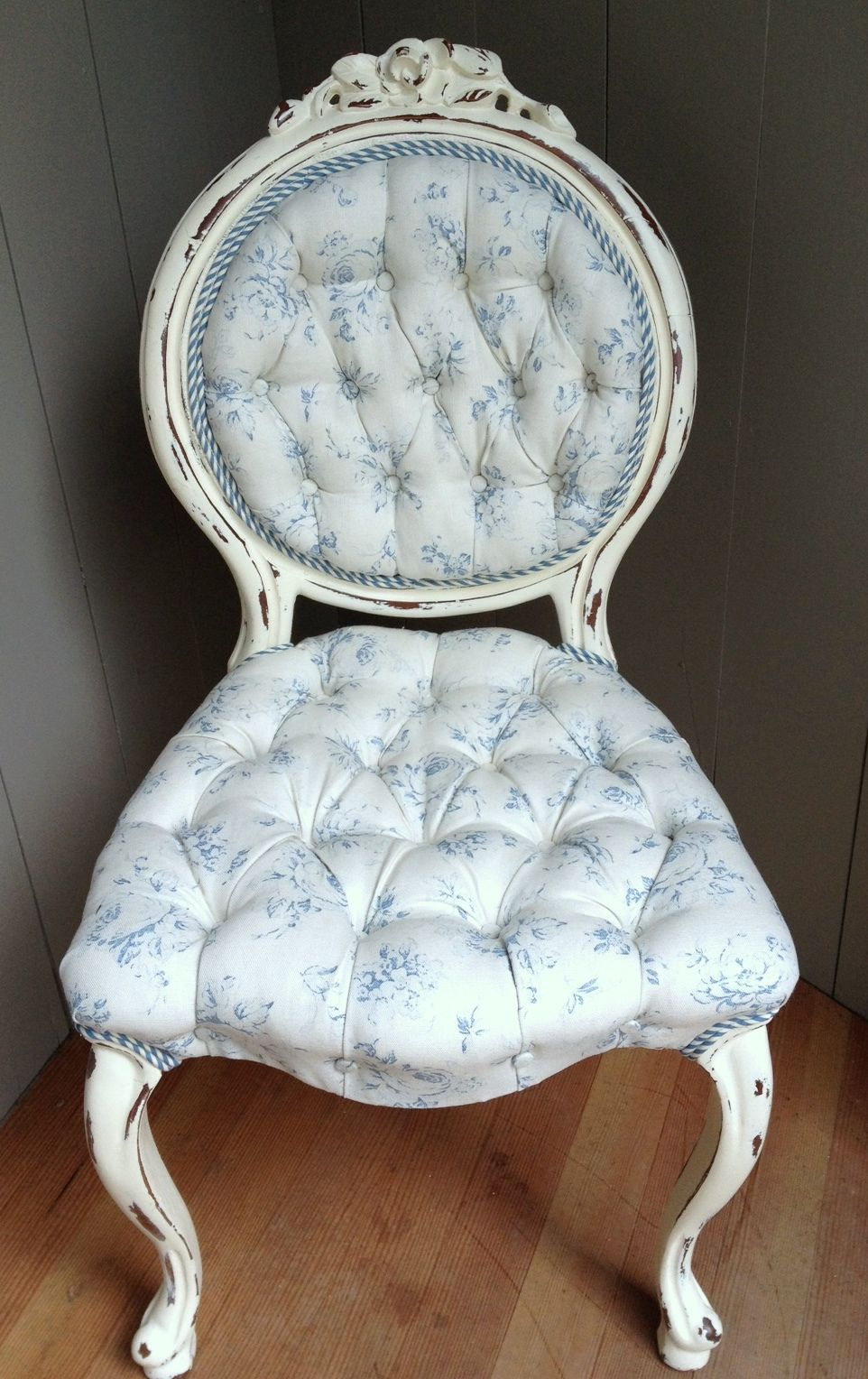 Vintage vanity chair with chalk paint and blue rose linen - Vintage Vanity Chair With Chalk Paint And Blue Rose Linen For