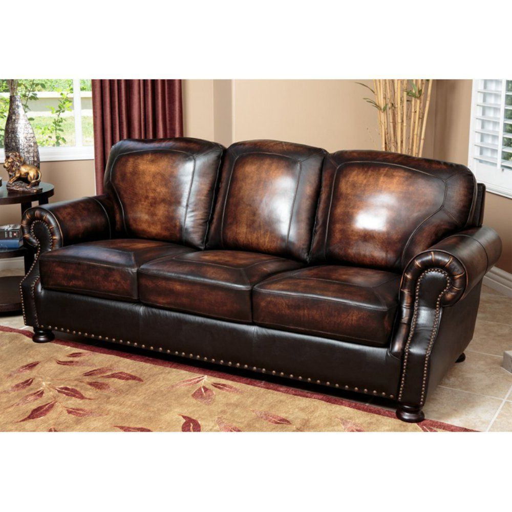 Abbyson Tannington Hand Rubbed Leather Sofa Genuine Leather Sofa Brown Leather Sofa Leather Sofa