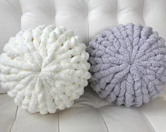 Hand Knit Chunky Chenille Yarn Decorative Pillow Round Circle Poof