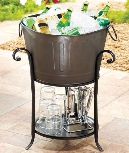 Captivating Metal Ice Bucket With Stand Outdoor Beer Party Cooler