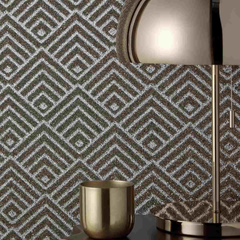 Chevron Metallic Textured Wallpaper Halo Collection