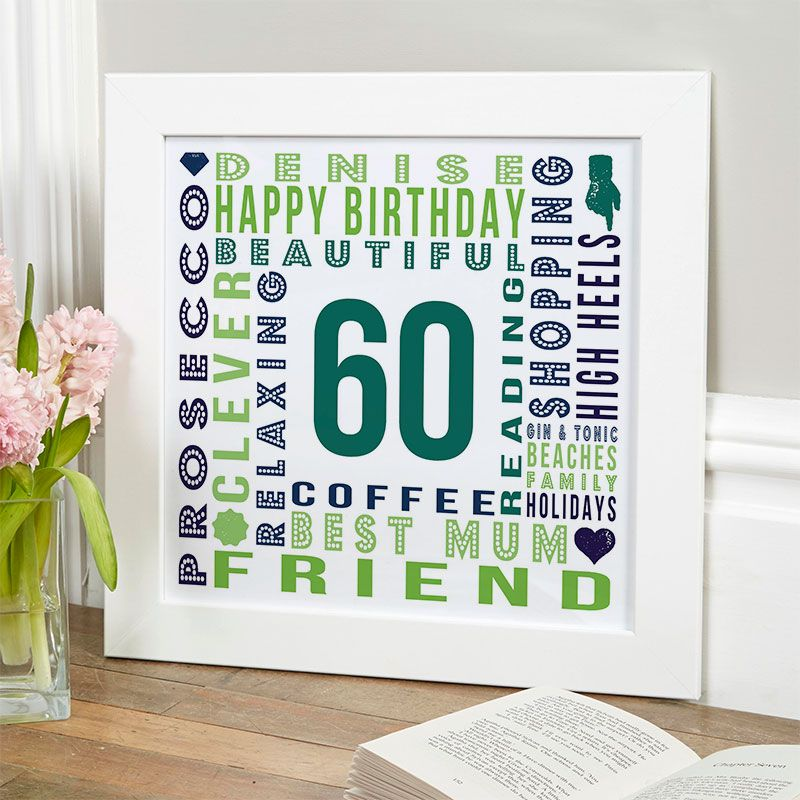 60th birthday gift for her of personalised age square