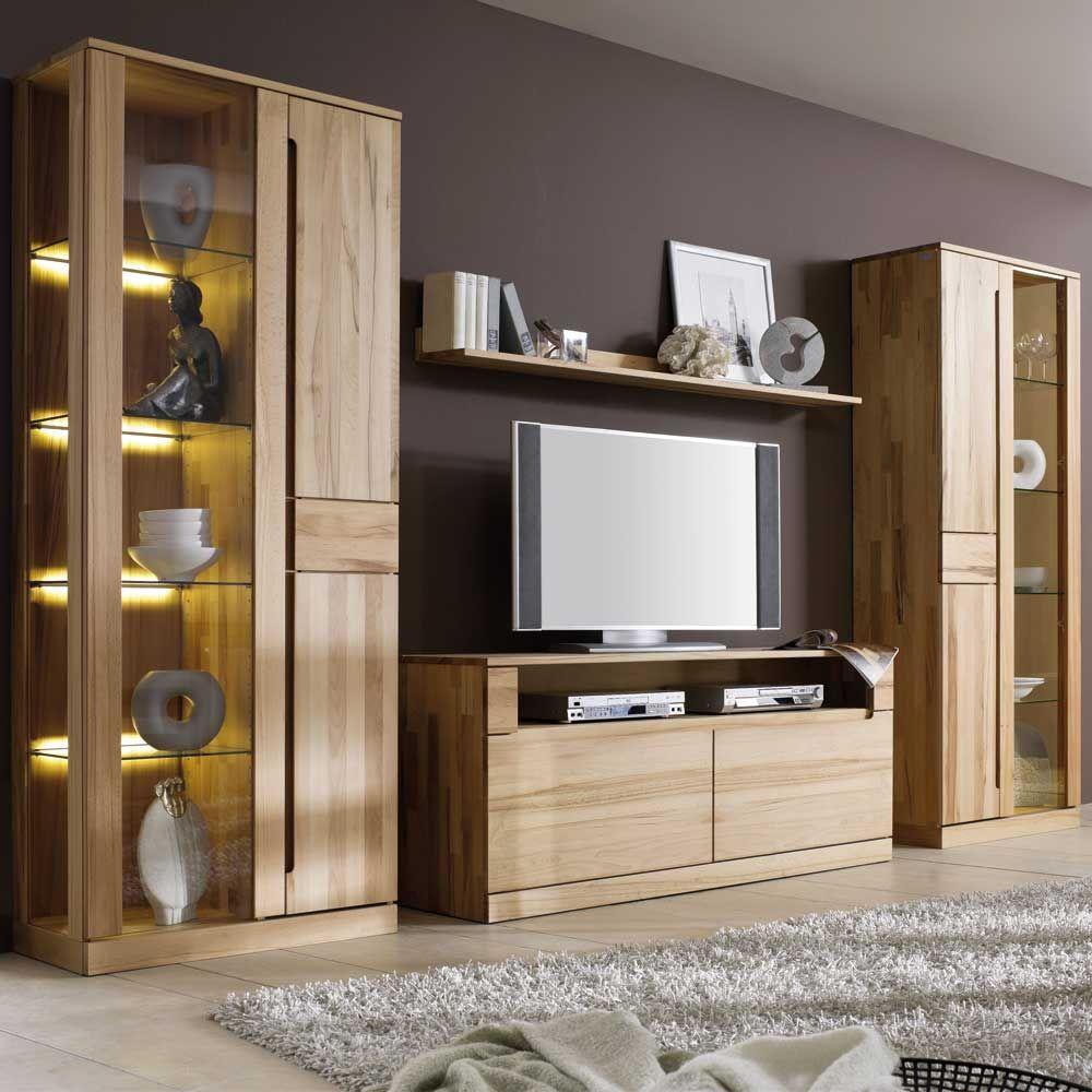 Uberlegen Wohnkombination Aus Kernbuche Massivholz 320 Cm Breit (4 Teilig)  Wohnzimmerschrank,wohnwand,