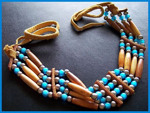 Old Leather Necklace W Turquoise Wooden Beads Silver Metal Native