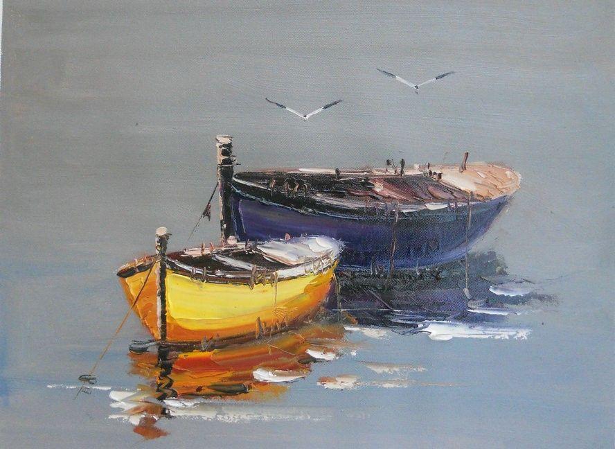 Картинки с лодками маслом, картинки день рождения