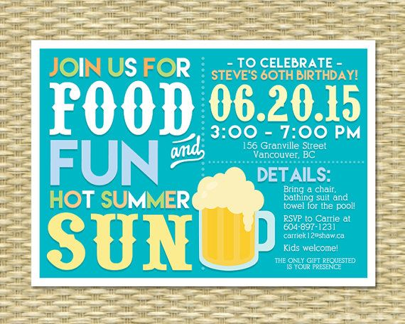 Adult Pool Party Invitation Summer Birthday BBQ Milestone 30th ANY EVENT Any Colors