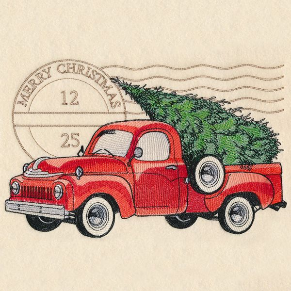 Retro Christmas Truck Design M16632 From Emblibrary