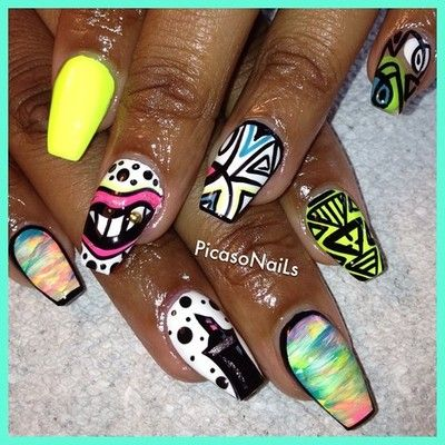 Tropical Stain and Lips w/Gold tooth has been popular for the last month lol #nails #nailart