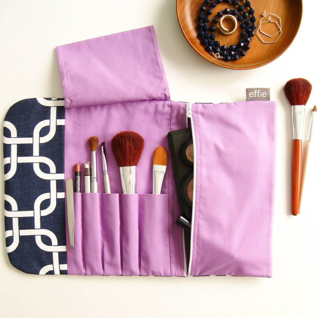 Travel Makeup Bag All In One Brush Roll Navy