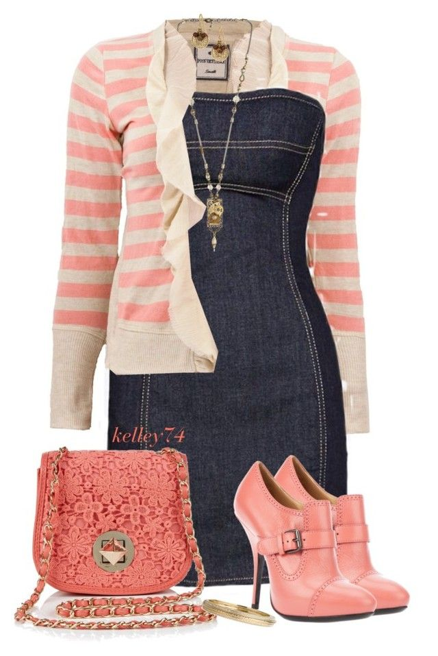 """""""Coral Bag & Shoes 2"""" by kelley74 ❤ liked on Polyvore featuring Dsquared2, Lanvin, One Off, Nadri and Stella & Dot"""