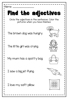 Adjectives Printable Worksheet. Kindergarten, First and Second Grade ...