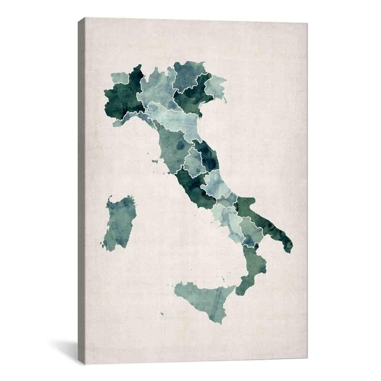 iCanvas Michael Thompsett Watercolor Map of Italy Canvas Print Wall ...