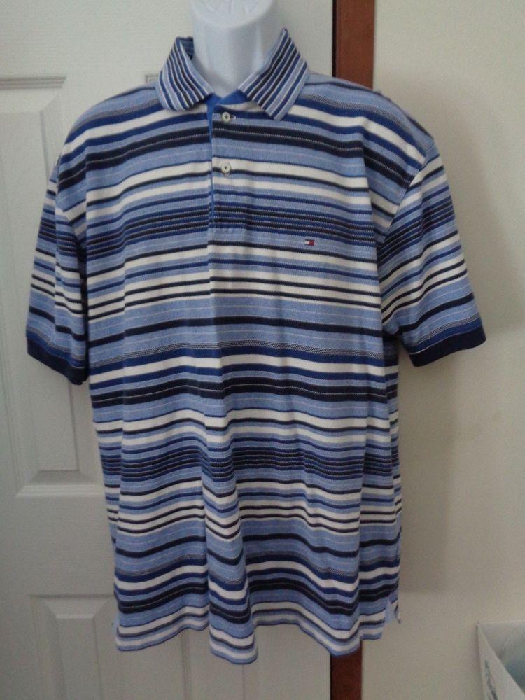 Tommy Hilfiger Polo Men's Size XL BLUE Striped Cotton