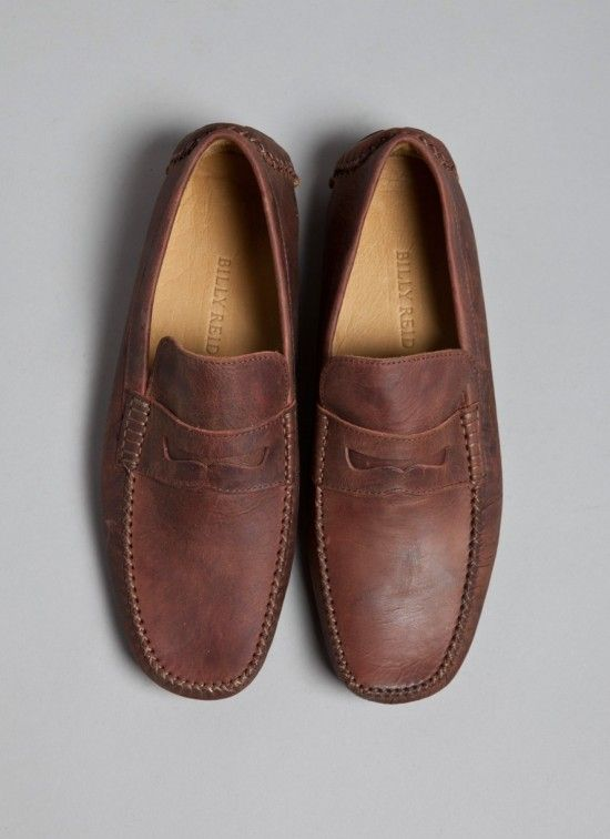 b99517595b9 billy reid . leather driving shoe . moc . color distressed brown . size 8 -  12 . price  325.00