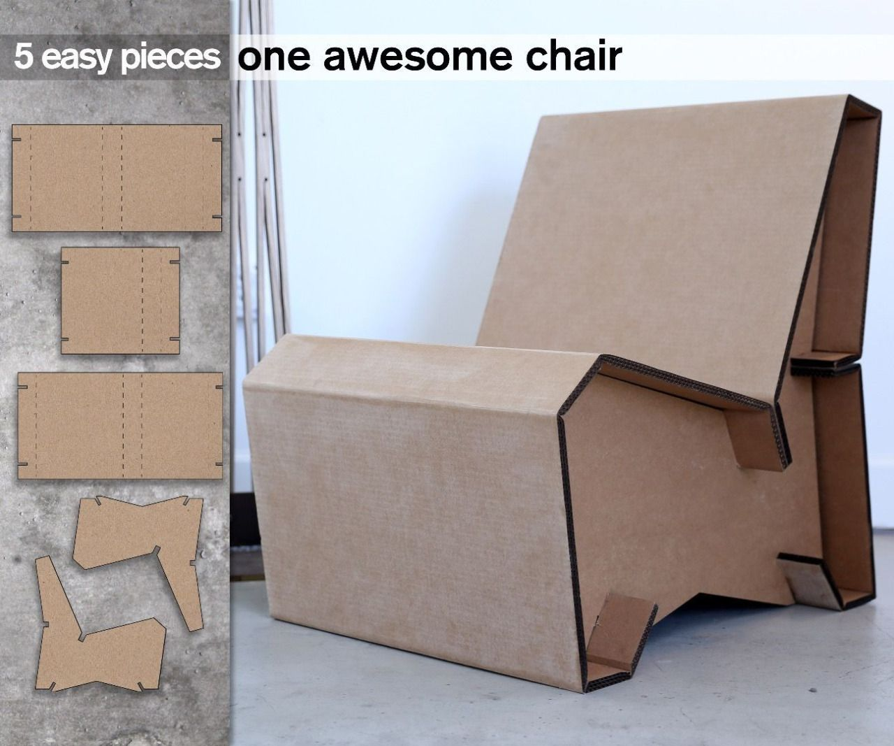 Cardboard chair design no glue - 5 Piece Cardboard Chair No Fasteners No Glue Just Friction And Slots