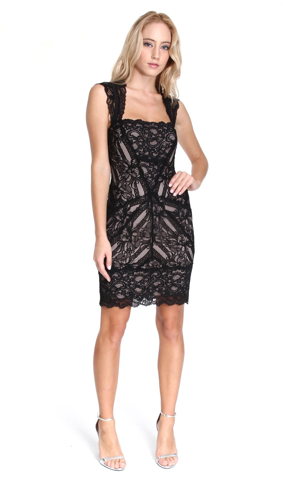 Nicole Miller Black and Nude Lace Dress | Designer Dress Hire and ...