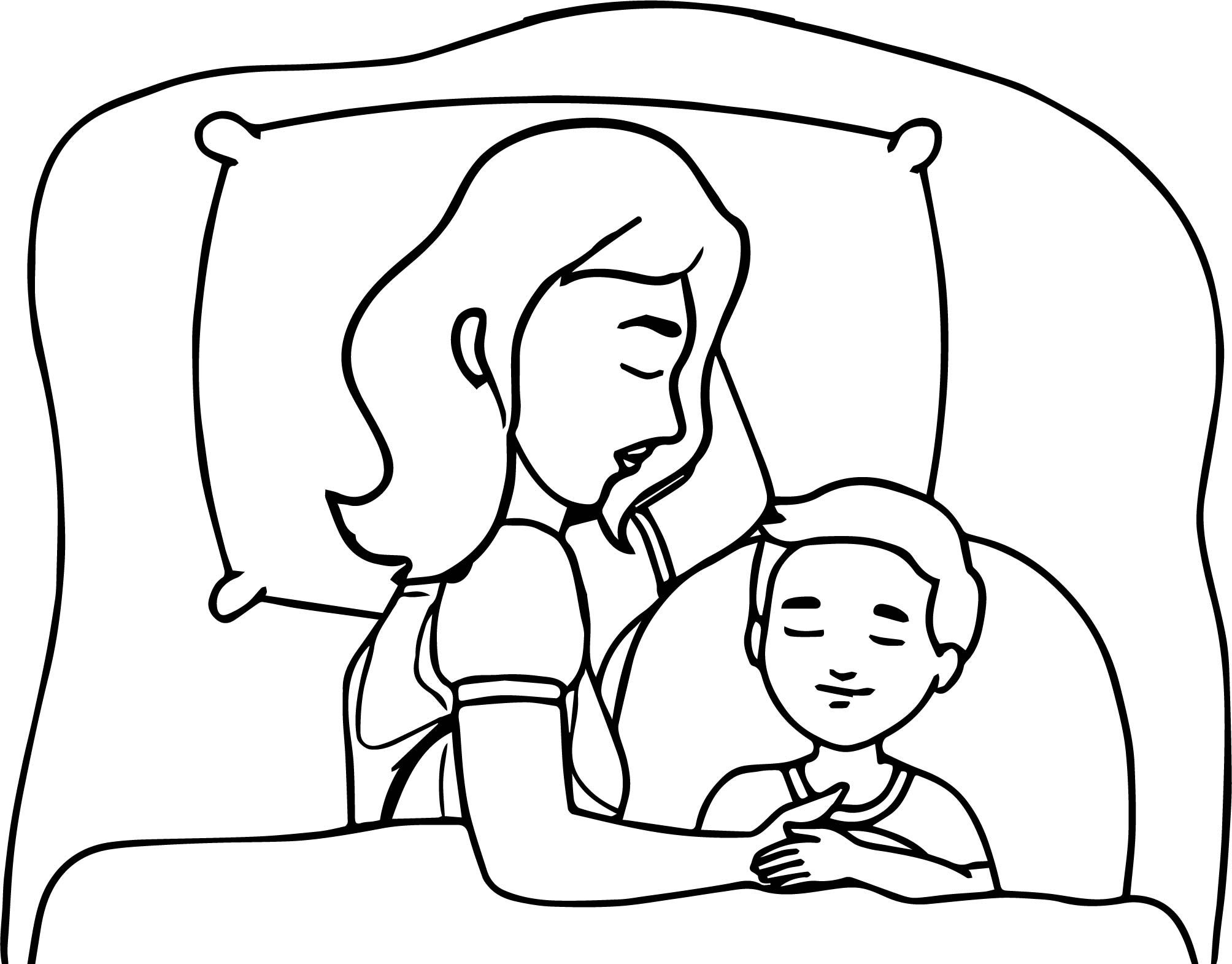 Nice Mother And Child Sleeping In Bed Family Coloring Page