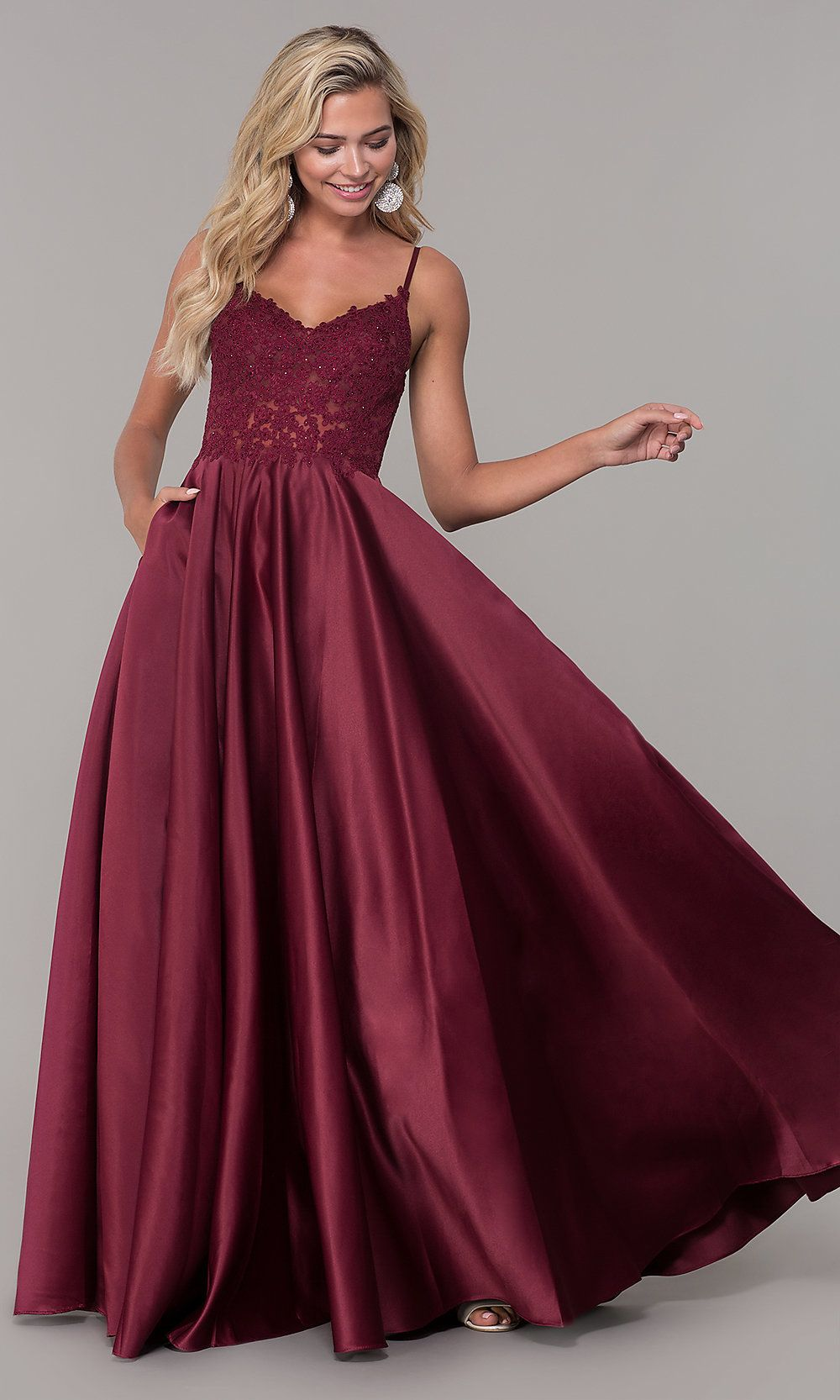 1b5669d140b Satin Prom Dress with Embroidered Bodice - PromGirl
