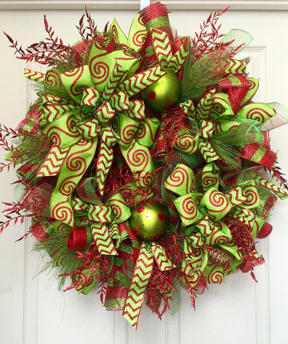 Whimsical Red and Green Glitz Christmas Mesh by WilliamsFloral