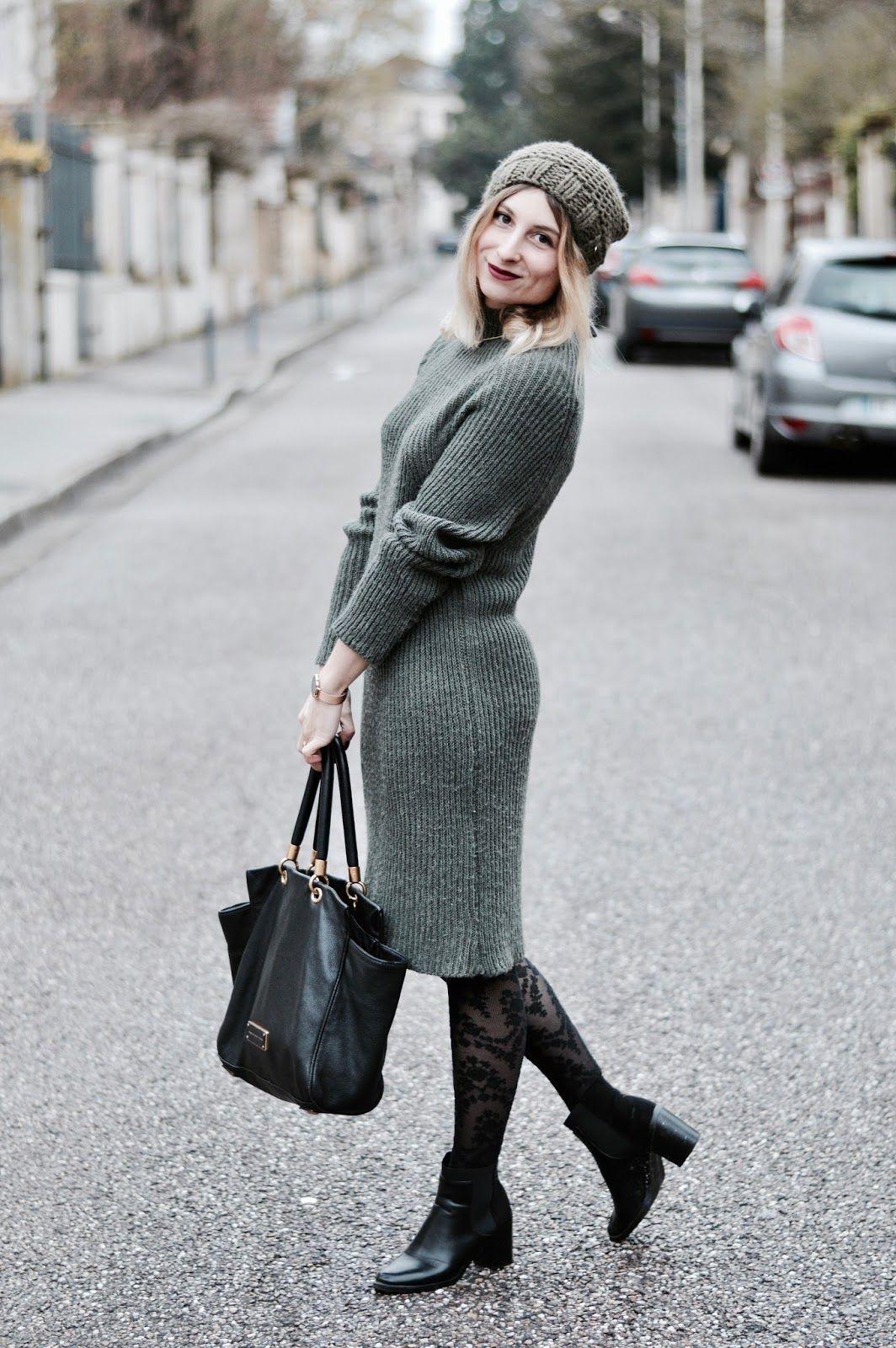 91dde9aeb44a8 look femme hiver 2018   robe pull kaki   TENUES ET LOOKS   Parka et ...
