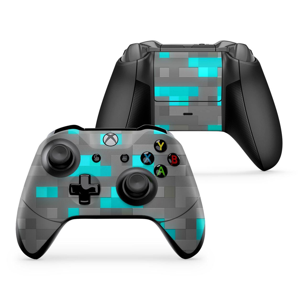 Pixel Diamond Block Xbox One X Controller Minecraft Pixel Art Xbox Controller Xbox One Controller Black Xbox