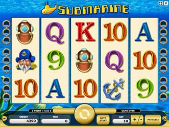SUBMARINE  We all play in a yellow Submarine! Dive into the deep sea of gambling fun and winning chances with this undersea craft. This oceanically good five-reel game comes up trumps with super scatter wins. Ahoy, what are you waiting for? Set to sea and immerse yourself in luck!      5 reels     9 paylines (Paylines are evaluated from the left and from the right. With 5 of the same symbols in one payline, these are only evaluated once.
