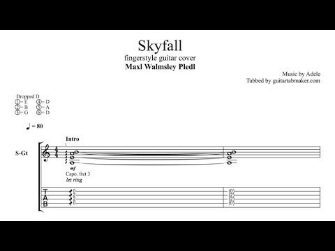Adele - Skyfall fingerstyle guitar tab - acoustic fingerstyle guitar ...