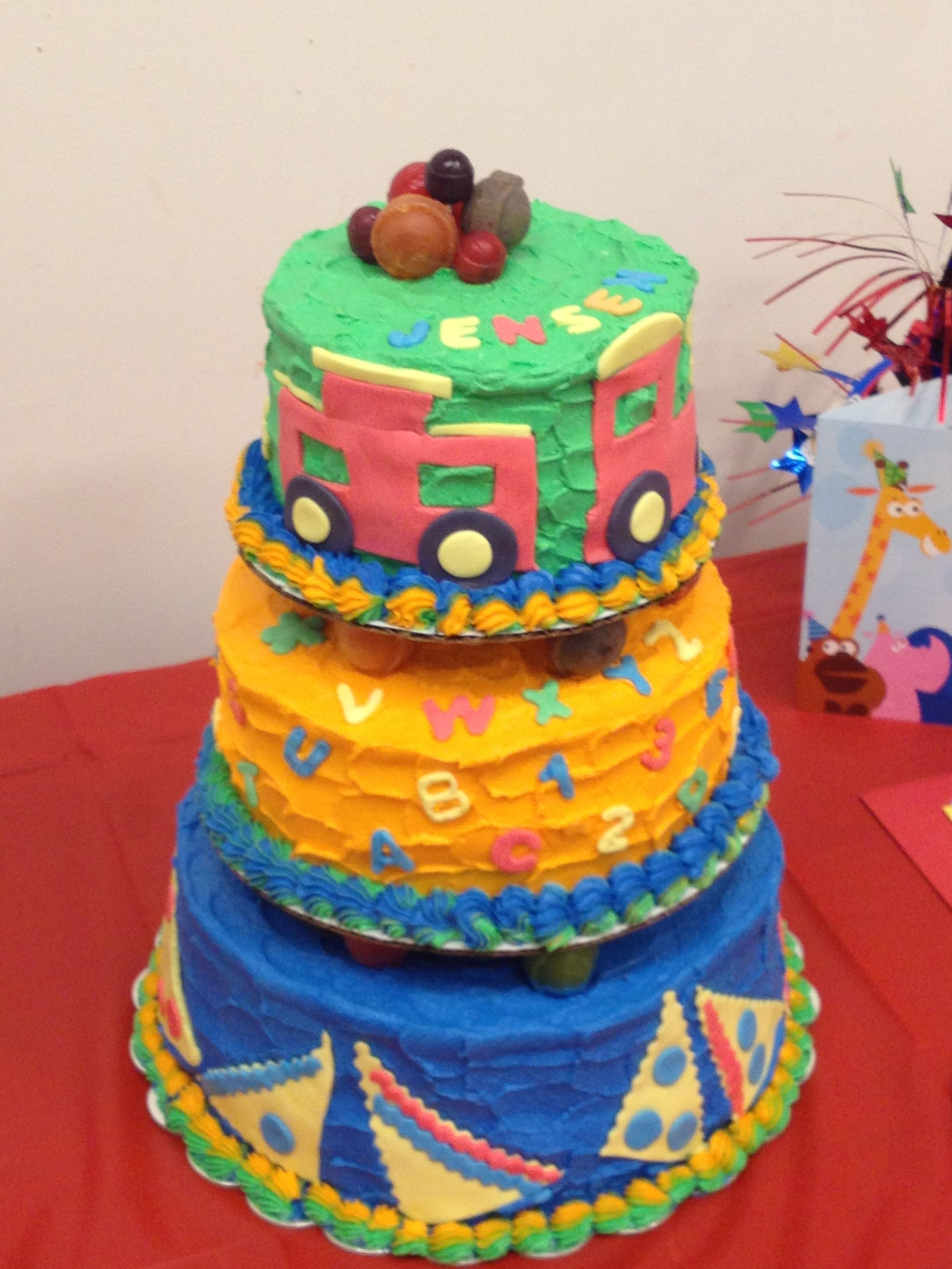 ABCs & 123s Cake.Tastey fun for the entire party.  Bright and colorful three-tiered treat.