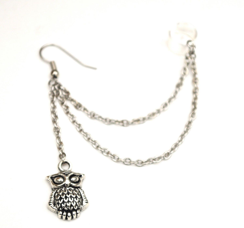 Owl silver ear cuff.. $12.00, via Etsy.
