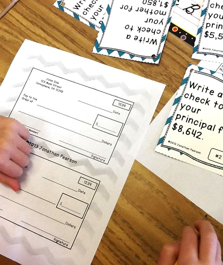 Check Writing Place Value Activity Students Pick A Task Card And Write A Check For The Amount On The Task Card Math Centers Math Classroom Homeschool Math