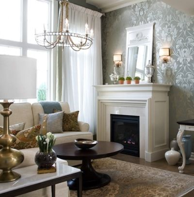 classy candice olson living rooms pictures. Clean and classy living room with glossy damask wallpaper  Home