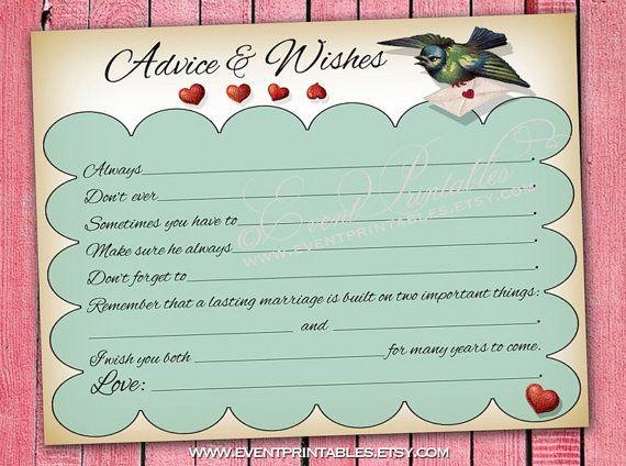 Wedding Advice Mad Libs, Vintage Lovebirds Wish Cards, Printable