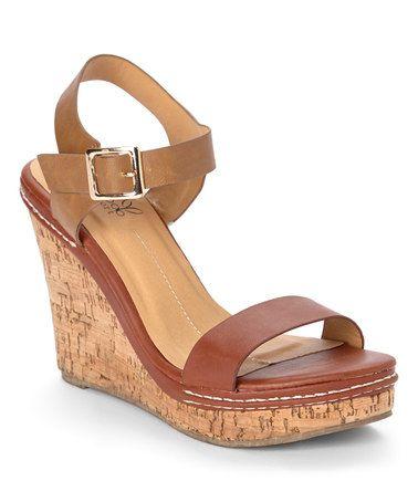 Love this Brown & Beige Cork Wedge Sandal on #zulily! #zulilyfinds