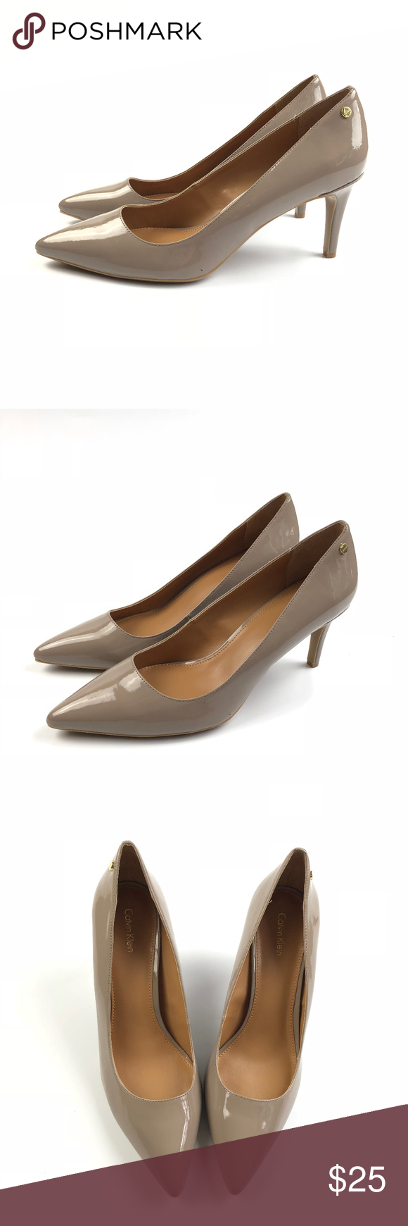 bf9039393c04 Calvin Klein Nilly Patent Taupe Nude Pumps Heels New without box. May have  been tried