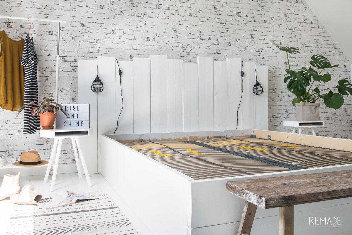 Hedendaags Steigerhouten bed zelf maken   Bed zelf maken, Slaapkamer muur PV-85