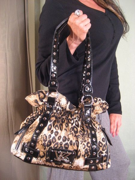 Kathy Van Zeeland Leopard Bag Stud Belt Per 89