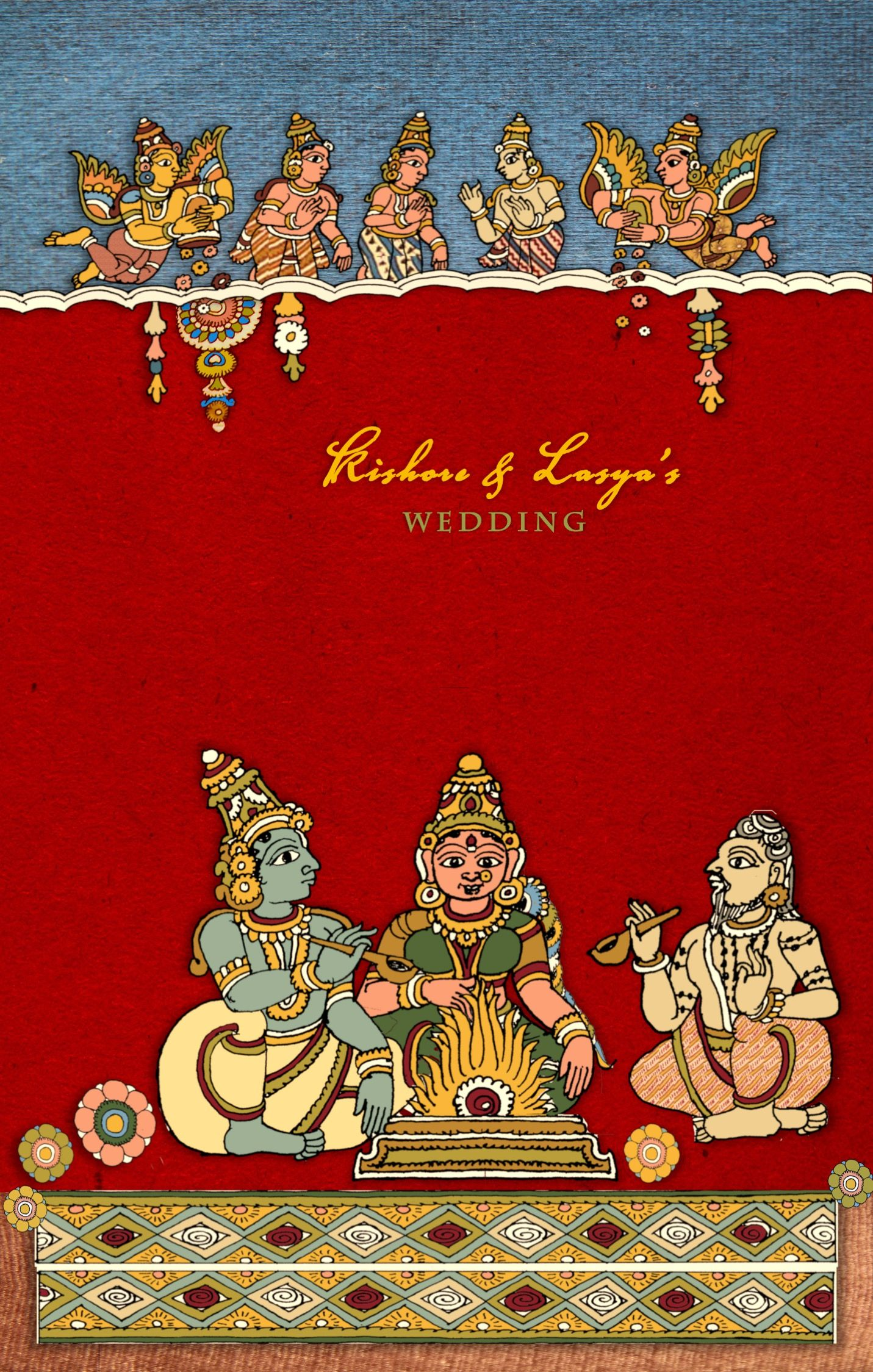 South Indian Kalamkari inspired Wedding Card front | Cards ...