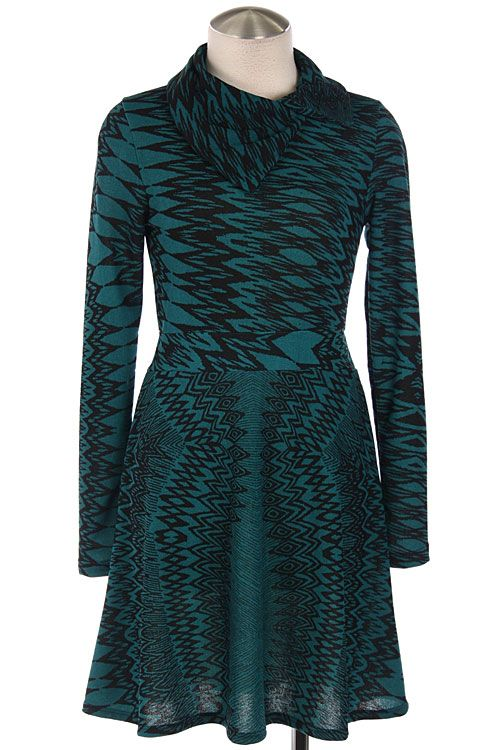 TRIBAL PRINT FOLDOVER NECK DRESS- Teal