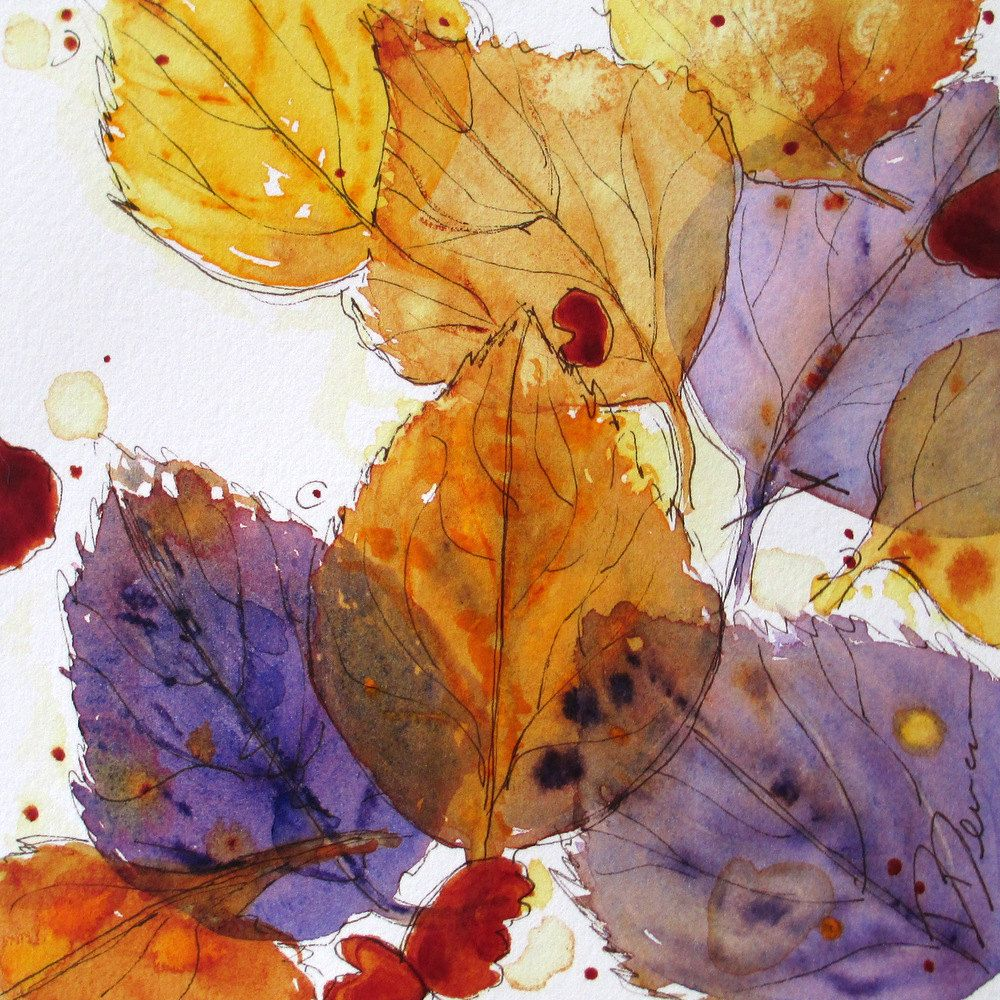 Autumn Leaves Watercolor Sketch 35 00 Via Etsy By Dawn Derman