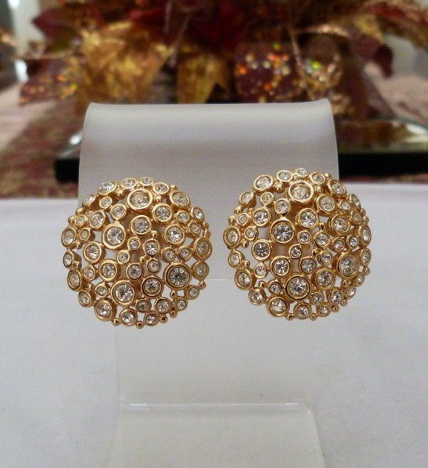 Details About Designer Signed Retired Swarovski Sparkling Clear Crystal Rhinestone Earrings