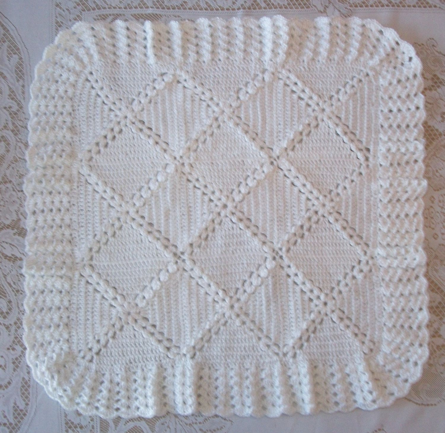Crochet White Baby Blanket and Bonnet or Hat Perfect For ...