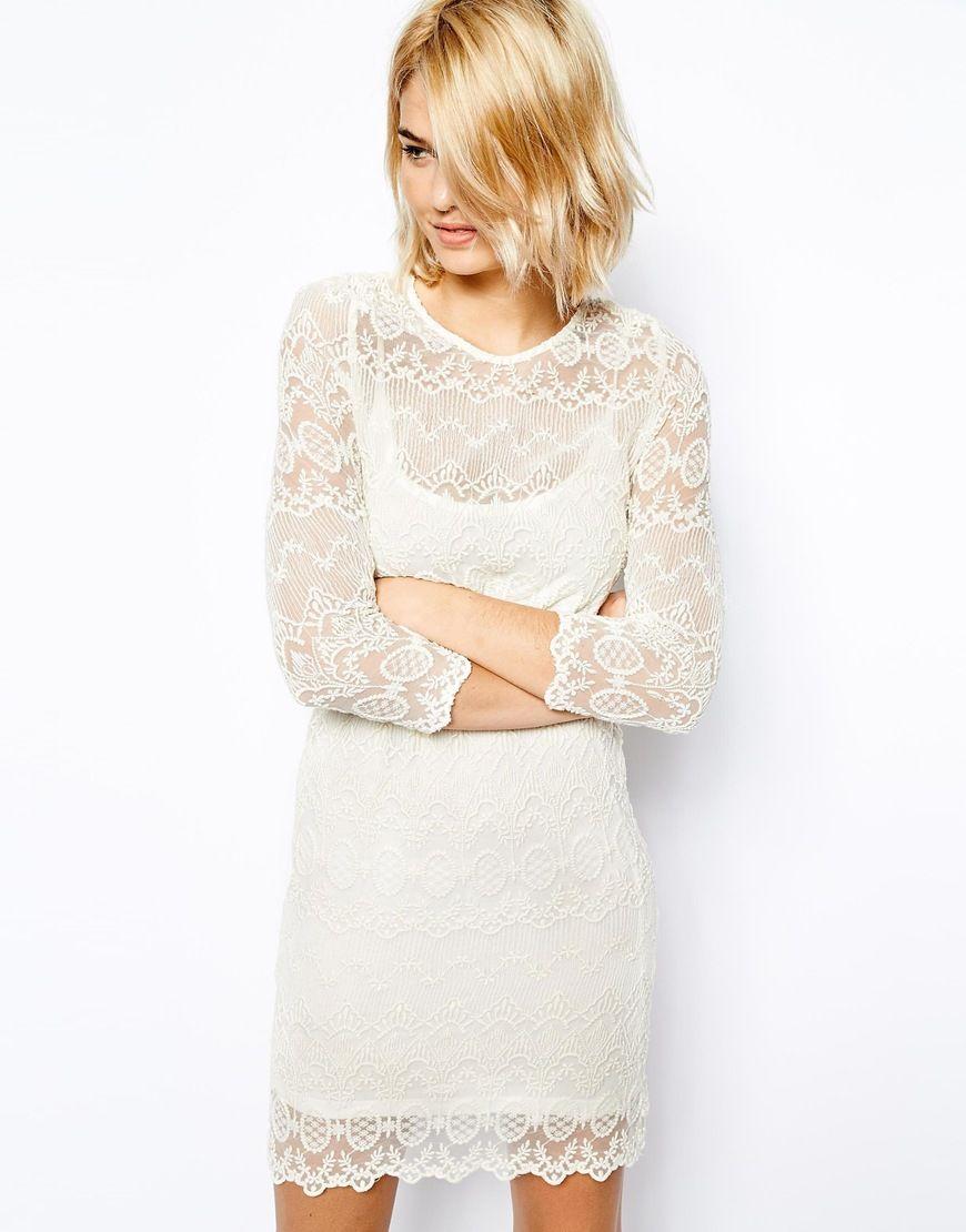Mng lace shift dress
