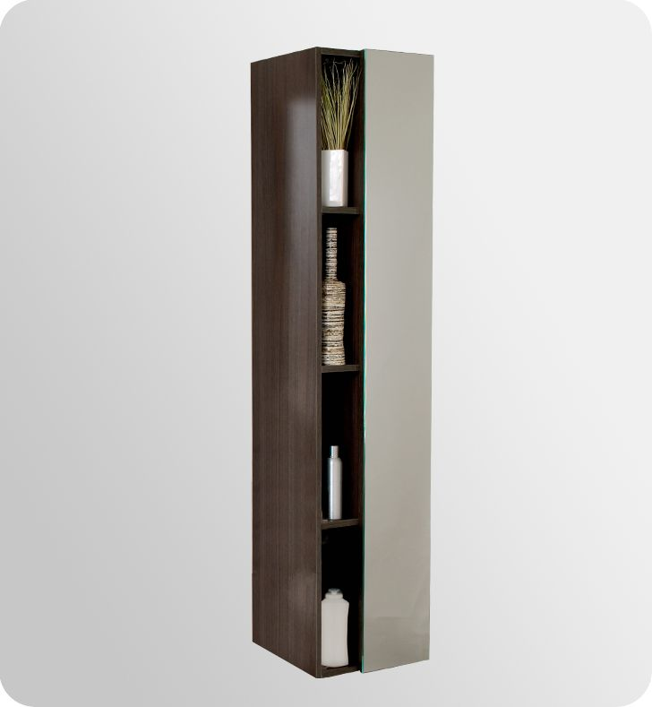 Fresca Freestanding Bathroom Linen Cabinet With Four Narrow Storage Gray Oak Cabinets Towers Tower