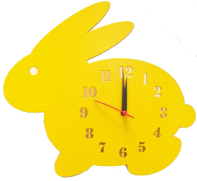Wooden Rabbit Shaped Wall Clock Kids Room Decor For Baby Boys Girls