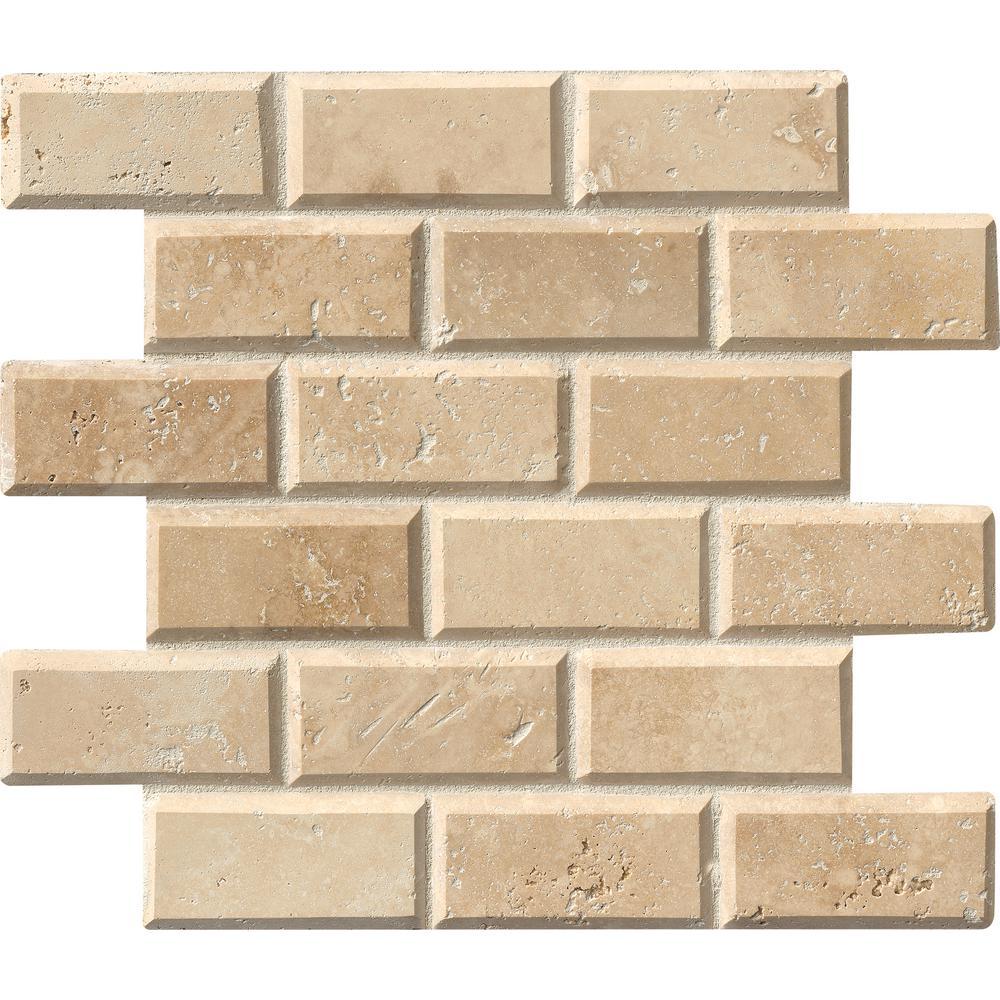 Msi Tuscany Ivory 12 In X 12 In X 10 Mm Honed Beveled Travertine Mesh Mounted Mosaic Tile 1 Sq Ft Ivo 2x4hb The Home Depot Travertine Mosaic Tiles Travertine Beveled Subway Tile