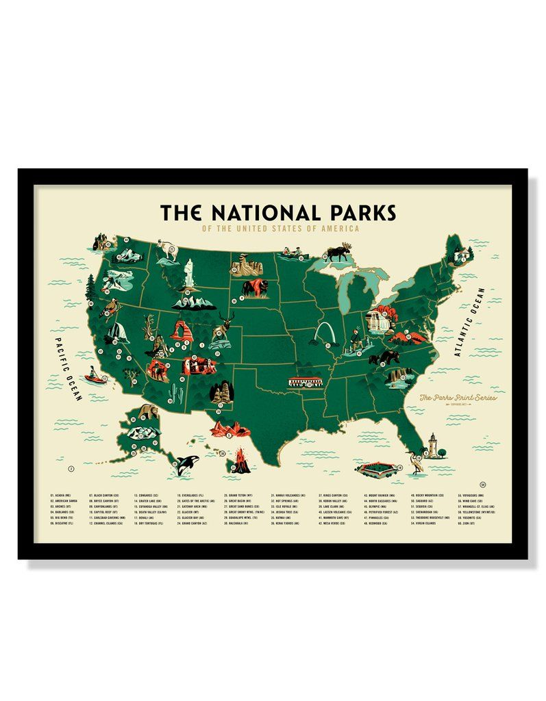 U S National Parks Map Poster Variant Fifty Nine Parks Usa Map Art National Parks Map National Park Posters